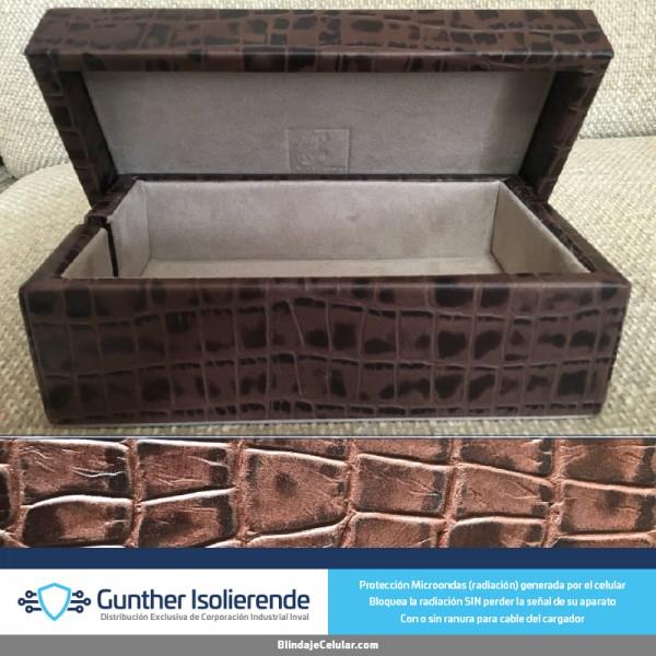 Caja Blindada - Grabado Piel Cocodrilo Café